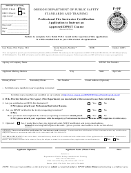 """Form F-9F """"Application to Instruct an Approved Dpsst Course"""" - Oregon"""