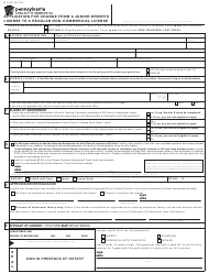 """Form DL-59 """"Application for Change From a Junior Driver's License to a Regular Non-commercial License"""" - Pennsylvania"""