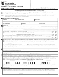 "Form MV-1S ""School Bus/School Vehicle Use Application"" - Pennsylvania"