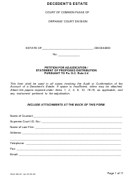 "Form OC-1 ""Petition for Adjudication /Statement of Proposed Distribution Pursuant to Pa. O.c. Rule 2.4"" - Pennsylvania"