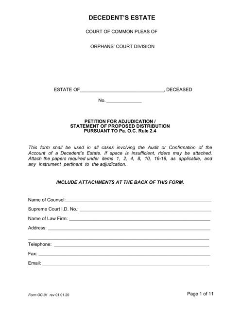 Form OC-1  Printable Pdf