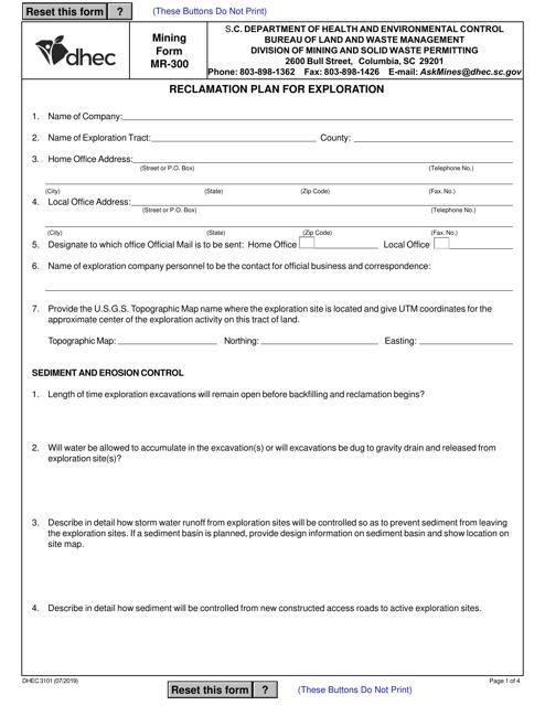 Form MR-300 (DHEC Form 3101)  Printable Pdf