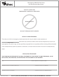 "DHEC Form 3462 ""Do Not Resuscitate Order"" - South Carolina"