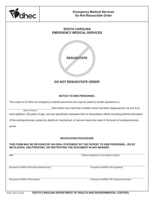 DHEC Form 3462  Printable Pdf