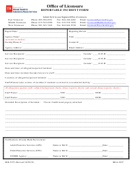 "Form MH-5375 ""Reportable Incident Form"" - Tennessee"