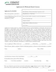 """Application for Wholesale Dealer's License"" - Vermont"
