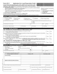 "Form LPC-1 ""Application for a Land Preservation Credit"" - Virginia"
