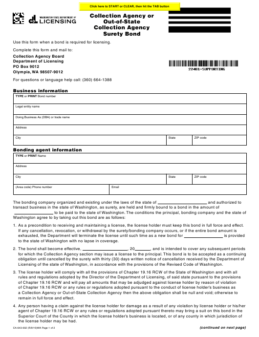 Form CA-643-002 Printable Pdf