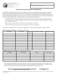 "Form BLS-700-205 ""Limousine Carrier Chauffeur Addendum"" - Washington"