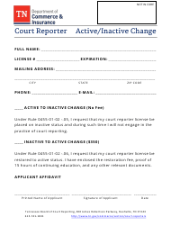"""""""Court Reporter Active/Inactive Change"""" - Tennessee"""