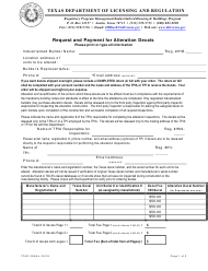 "Form IHB056 ""Request and Payment for Alteration Decals"" - Texas"