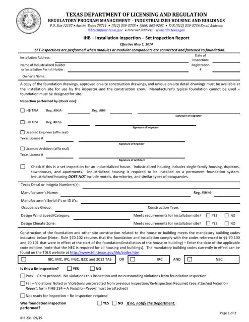 Form IHB231  Printable Pdf