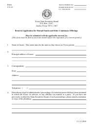 """Form 133.12 """"Renewal Application for Mutual Funds and Other Continuous Offerings"""" - Texas"""