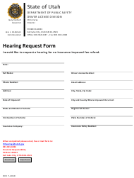 """Impound Hearing Request Form"" - Utah"