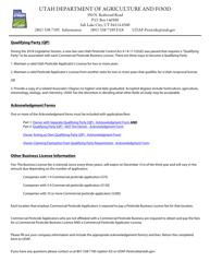 "Form AG-PLT-0800 ""Application for Commercial Pesticide Business License (4000)"" - Utah"