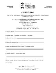 "Form LWC-WC-2007 ""Service Company Application"" - Louisiana"