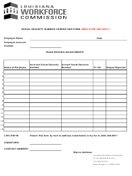 """Form LWC-ES51B """"Employer's Social Security Number Correction Form"""" - Louisiana"""