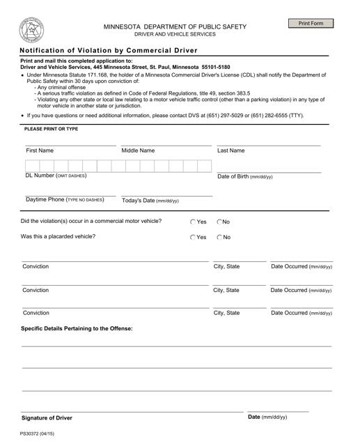 Form PS30372  Printable Pdf