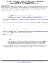 """Application for an Interim Administrative Certificate"" - Arizona"
