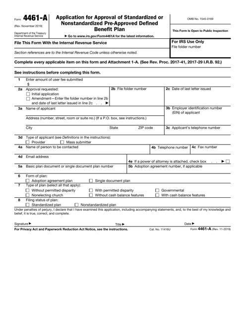 IRS Form 4461-A  Printable Pdf
