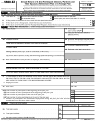 """IRS Form 5500-EZ """"Annual Return of a One-Participant (Owners/Partners and Their Spouses) Retirement Plan or a Foreign Plan"""", 2019"""