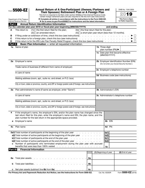 IRS Form 5500-EZ 2019 Printable Pdf