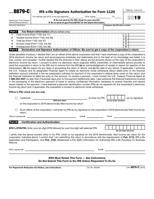 IRS Form 8879-C 2019 Printable Pdf
