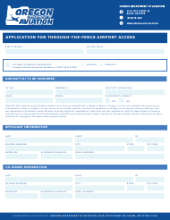 """""""Application for Through-The-Fence Airport Access"""" - Oregon"""