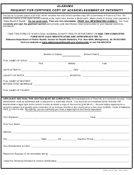 "Form ADPH-HS-21 ""Request for Certified Copy of Acknowledgment of Paternity"" - Alabama"