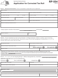 """Form RP-554 """"Application for Corrected Tax Roll"""" - New York"""