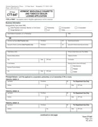 """VT Form CTT-647 """"Vermont Wholesale Cigarette and Tobacco Dealer License Application"""" - Vermont"""