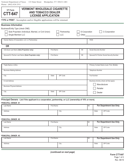 VT Form CTT-647 Printable Pdf