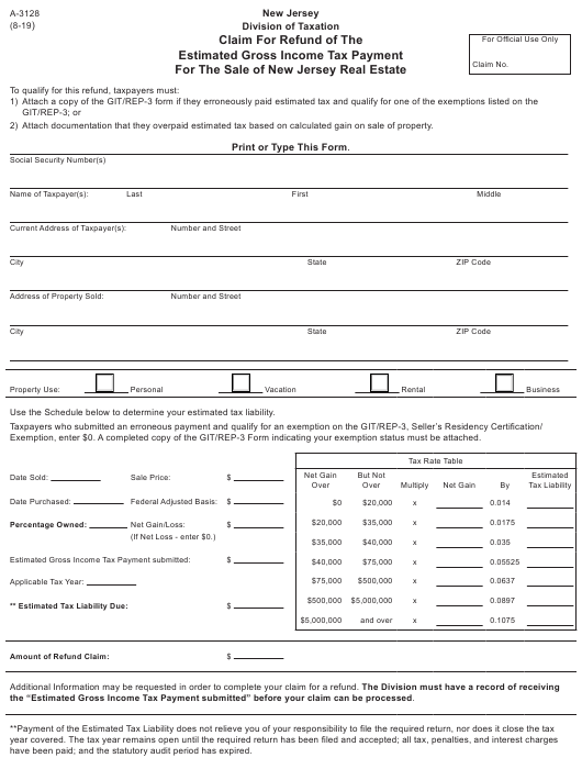 Form A 3128 Download Fillable Pdf Or Fill Online Claim For Refund Of The Estimated Gross Income Tax Payment For The Sale Of New Jersey Real Estate New Jersey Templateroller