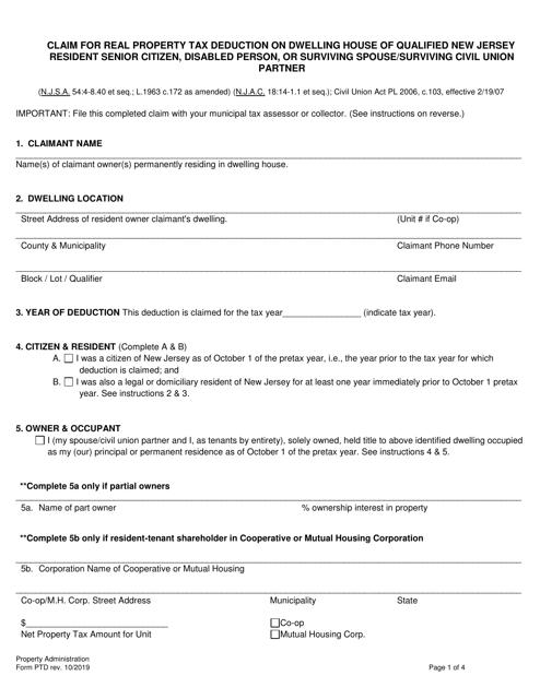 Form PTD  Printable Pdf