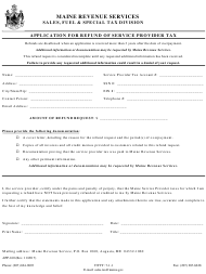 "Form APP-160 ""Application for Refund of Service Provider Tax"" - Maine"