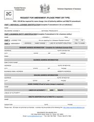"""Form 2C """"Request for Amendment"""" - Delaware"""