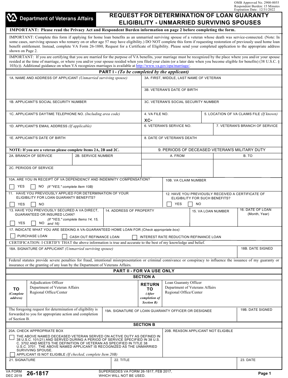 Va Form 26 1817 Download Fillable Pdf Or Fill Online Request For Determination Of Loan Guaranty Eligibility Unmarried Surviving Spouses Templateroller