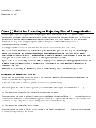 "Official Form 314 ""Ballot for Accepting or Rejecting Plan of Reorganization"""
