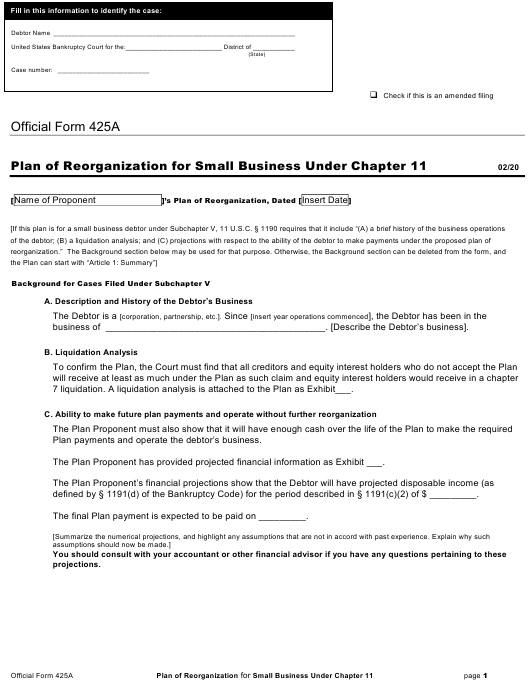 Official Form 425A Printable Pdf