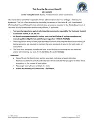 "Form 05-20-010 ""Level 3 Test Security Agreement"" - Alaska, 2020"