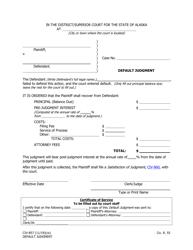 """Form CIV-857 """"Default Judgment"""" - Alaska"""