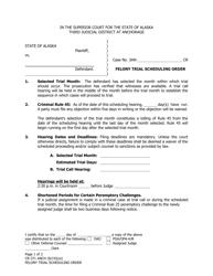 "Form CR-371 ""Felony Trial Scheduling Order"" - Municipality of Anchorage, Alaska"