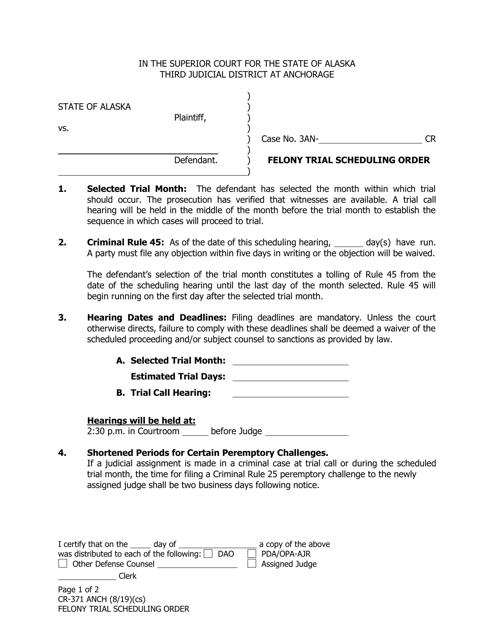 Form CR-371  Printable Pdf