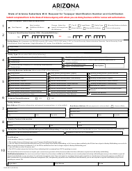 "Form GAO-W-9 ""Request for Taxpayer Identification Number and Certification"" - Arizona"