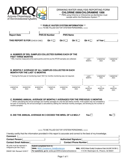 Form DWAR18A  Printable Pdf