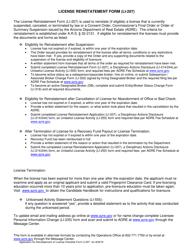 "Form LI-207 ""Application for Reinstatement of License Form"" - Arizona"