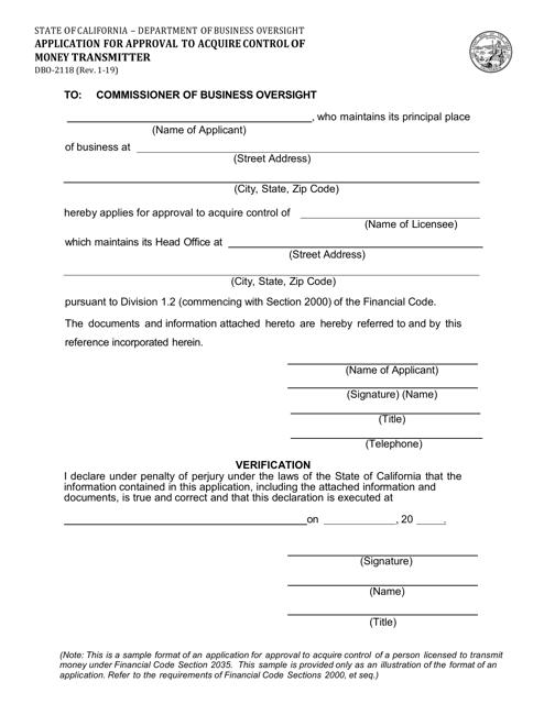 Form DBO-2118  Printable Pdf