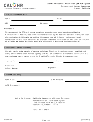 "Form CALHR902 ""Qualified Reservist Distribution (Qrd) Request"" - California"