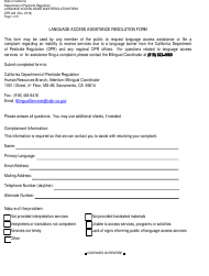 """Form DPR-045 """"Language Access Assistance Resolution Form"""" - California"""