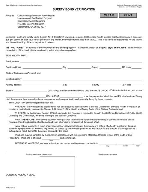 Form HS402  Printable Pdf